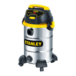 Stanley - Stanley Stainless Steel Wet and Dry 8-gallon Vacuum - With a 4.5 peak HP motor and an 8-gallon stainless steel container,this vacuum is for any type of cleanup. Its double filtration system features a high performance pleated cartridge filter for wet and dry pick up.