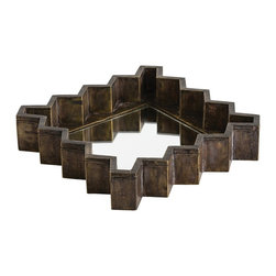 """Arteriors - Ziggurat Tray / Mirror - Square - Designed to """"fit' together as interlocking forms on the table or on the wall, these hand joined wooden pieces are clad in brass and patinated to give an aura of warmth.  The mirrored bottom gives an added layer of shine.  Features keyhole hangers for vertical and horizontal hanging.  Food safe.  Available in Rectangle or Square.  Rectangle Tray/Mirror: 17"""" w x 12"""" d x 3"""" h  Square Tray/Mirror: 12"""" w x 12"""" d x 3"""" h"""