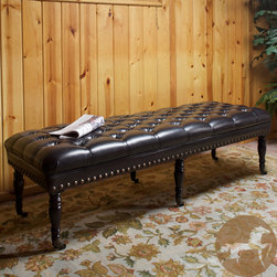 Christopher Knight Home - Christopher Knight Home Hastings Brown Tufted Bonded Leather Ottoman Bench - The wooden spindle legs of this traditional ottoman bench call to mind turn-of-the-century furniture design.