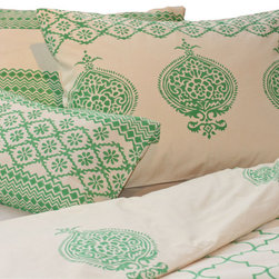 Filling Spaces - Block Print Reversible Duvet Set with Shams and Accent Pillow - Add an exotic touch to your bedroom with this bedding set that's skillfully created using traditional techniques by artists in India. It includes a reversible duvet cover, two reversible shams and an accent pillow that includes a down insert. The striking block prints come in your choice of six colors.