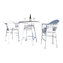 Wicker Paradise - Outdoor Wicker Bar Set - Cape Cod - Celebrate special times with friends and family with our outdoor wicker bar set.   Outdoor Wicker Bar Set:  -You can select from white wicker or natural for your outdoor wicker bar set.  -Each Bar Stool is extremely durable, generously cut and comfortable.  -You will love that these pieces are framed on aluminum (rust-proof) and made for total outdoor conditions.  Have a happy hour with friends or family enjoying your outdoor wicker bar set made of resin on aluminum. These barstools are comfortable with high backs and matching handsome bar table with glass that's easy to clean!  Our Cape Cod Outdoor Wicker Bar Set is a quick ship item!