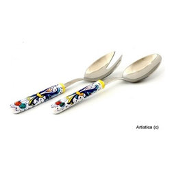 Artistica - Hand Made in Italy - Ricco Deruta: Deruta Salad Serving Set with Ceramic Handle - Salad Server Set.