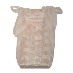 Cotton Tale Designs - Heaven Sent Girl Diaper Stacker - A quality baby bedding set is essential in making your nursery warm and inviting. All Cotton Tale patterns are made using quality materials and are uniquely designed to create your perfect nursery. Part of the Heaven Sent Girl collection is the beautiful little diaper stacker. Made to resemble a little girl's dress in the cream sheer fabric and pink lining. Holds up to 4 doz. folded diapers. Can be attached to the changer or chest, but never tie to the crib. Wash gentle cycle, separate, cold water. Tumble dry low or hang dry. This collection is perfect for your little girl.