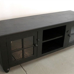 Black Media Cabinet From Rustic Barn Wood - Made by http://www.ecustomfinishes.com