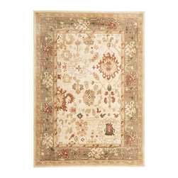 """Safavieh - Heirloom Brown/Green Area Rug HLM1739-1152 - 4' x 5'7"""" - Safavieh's Heirloom collection offers the beauty and painstaking detail of traditional Persian and European styles with the ease of polypropylene. With a symphony of florals, vines and latticework detailing, these beautiful rugs bring warmth and life to any room."""