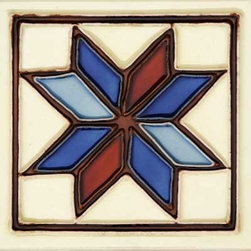"""Glass Tile Oasis - Estrella 6"""" x 6"""" Cream/Beige 6"""" x 6"""" Deco Tiles Glossy Ceramic - All ceramic tiles are hand painted. Glazed thickness will vary from tile to tile resulting in color variation. Hand Painted Ceramic tiles will craze and crackle over time which is intentional and a desired effect."""