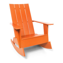 Loll Designs - 4 Slat Flat Standard Adirondack Rocker, Sunset Orange - Now you can gently rock the day away in this updated Adirondack chair. Whether you're on a seaside porch or a backyard deck, nothing says carefree living like this chic rocker.