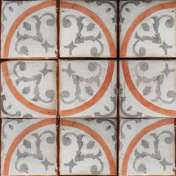 Tabarka - Mediterranean 25 - Mediterranean style, hand crafted terra cotta tiles in oxford and coral on off white. Can be used as floor or wall tiles.