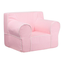 Flash Furniture - Flash Furniture Children's Chairs Kids Large Chairs X-GG-KP-TOD-DIK-HC-EGL-GD - This comfy foam chair is a fun piece of furniture for children to enjoy for reading and relaxing. The lightweight design with carrying handle will allow this chair to be toted in several locations. The slipcover can be removed for cleaning or spot cleaned upon accidents. [DG-LGE-CH-KID-DOT-PK-GG]