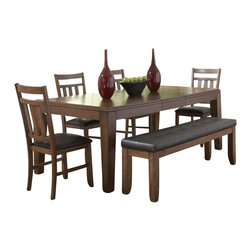 Homelegance - Homelegance Kirtland 6 Piece Dining Table Set in Warm Oak - Homelegance - Dining Sets - 1399836 - For your casual dining space the Kirtland Collection provides ample seating for your family and friends. Bench seating features button- tufted dark brown bi-cast vinyl. The horizontal and vertical slat supports form each chair back. The entire collection is highlighted by the warm brown cherry finish. The routed design on the tabletop carries over to the matching server.
