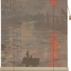 Oriental Furniture - Impression Sunrise Bamboo Blinds - (24 in. x 72 in.) - Bring the artistic mastery of Claude Monet to your living room with these stunning bamboo matchstick blinds. Built from all natural materials and printed with a high definition rendering of  Impression, Sunrise , this beautiful blind is perfect for any lover of fine art.