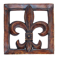 Hickory Manor House - Fleur-de-Lis Tile in Brandywine Finish - Vintage original. Custom made by artisans unfortunately no returns allowed. Enhance your decor with this graceful tile. Made in the USA. Made of pecan shell resin. 15.5 in. L x 15.5 in. W (6 lbs.)