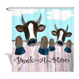 usa - Peek-A-Moo Shower Curtain - Beautiful shower curtains created from my original art work. Each curtain is made of a thick water resistant polyester fabric. The permanently applied art work appears on the front side with the inside being white. 12 button holes for easy hanging, machine washable and most importantly made in the USA. Shower rod and rings not included. Size is a standard 70''x70''