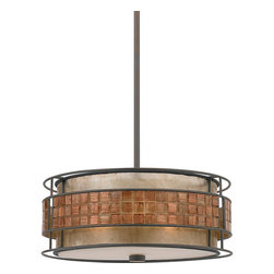 Quoizel - Quoizel MC842CRC Laguna 3 Light Pendants in Renaissance Copper - Long Description: This mica piece is an addition to the Quoizel Naturals collection and features a mosaic tile stripe, which appears to be floating around a taupe mica shade. The tiles have a coppery shimmer for an added touch of elegance. It provides a warm and inviting accent for most any home.