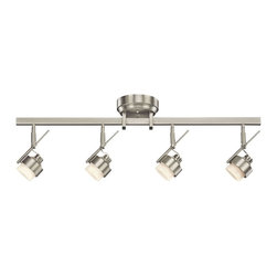 KICHLER - KICHLER LED Contemporary Directional Wall/Ceiling Light - A hint of modern and industrial styling give this Kichler Lighting directional rail light a unique look. LED lights are housed within satin etched glass shades which compliment the clean tones of the Brushed Nickel finish. May be wall or ceiling mounted.