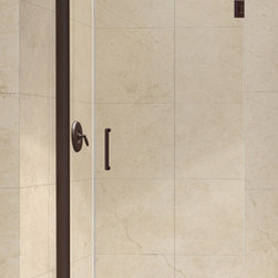 DreamLine - DreamLine SHDR-20297210-06 Unidoor 29 to 30in Frameless Hinged Shower Door, Clea - The Unidoor from DreamLine, the only door you need to complete any shower project. The Unidoor swing shower door combines premium 3/8 in. thick tempered glass with a sleek frameless design for the look of a custom glass door at an amazing value. The frameless shower door is easy to install and extremely versatile, available in an incredible range of sizes to accommodate shower openings from 23 in. to 61 in.; Models that fit shower openings wider than 31 in. have an adjustable wall profile which allows for width or out-of-plumb adjustments up to 1 in.; Choose from the many shower door options the Unidoor collection has to offer for your bathroom renovation. 29 - 30 in. W x 72 in. H ,  3/8 (10 mm) thick clear tempered glass,  Chrome, Brushed Nickel or Oil Rubbed Bronze hardware finish,  Frameless glass design,  Width installation adjustability: 29 - 30,  Out-of-plumb installation adjustability: Up to 1 in. one side (total 1 in.),  Self-closing solid brass wall mount hinges,  Door opening: 22 in.,  Stationary panel: 6 in.,  Reversible for right or left door opening installation,  Material: Tempered Glass, Brass
