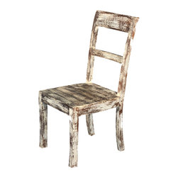 Sierra Living Concepts - White Distressed Solid Wood Side Dining Chair - The frosty beauty of a winter's day is captured in our Winter Forest Chair. This classic design works as a kitchen or dining room chair and is built with solid mango wood, a tropical wood grown as a renewable crop.