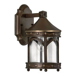 "Hinkley - Traditional Hinkley Lucerne Collection 11 1/2"" High Outdoor Wall Light - Inspired by street lighting in the world-famous city of Lucerne this outdoor light fixture boasts clean lines and an elegant profile. It comes in a copper bronze finish with clear glass. A diamond pattern ball feet and drapery border adds to the classic decorative look. From Hinkley Lighting. Takes one 60 watt bulb (not included). 11 1/2"" high. 6"" wide. Extends 8"" from the wall.  Copper bronze finish.  Takes one 60 watt bulb (not included).  11 1/2"" high.  6"" wide.  Extends 8"" from the wall."