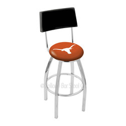 Holland Bar Stool - Holland Bar Stool L8C4 - Chrome Texas Longhorns Swivel Bar Stool - L8C4 - Chrome Texas Longhorns Swivel Bar Stool w/ Back belongs to College Collection by Holland Bar Stool Made for the ultimate sports fan, impress your buddies with this knockout from Holland Bar Stool. This contemporary L8C4 logo stool has a chrome single-ring base and a cushioned back to achieve maximum comfort and support. Holland Bar Stool uses a detailed screen print process that applies specially formulated epoxy-vinyl ink in numerous stages to produce a sharp, crisp, clear image of your team's emblem. You can't find a higher quality logo stool on the market. The plating grade steel used to build the frame is commercial quality, so it will withstand the abuse of the rowdiest of friends for years to come. The structure is triple chomed to ensure a rich, sleek, long lasting finish. Construction of this framework is built tough, utilizing solid mig welds. If you're going to finish your bar or game room, do it right- with a Holland Bar Stool. Barstool (1)