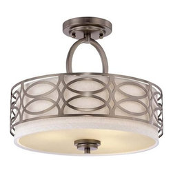 Nuvo Lighting - Nuvo Lighting 60/4729 Harlow Three Light Semi-Flush Ceiling Fixture - Nuvo Lighting 60/4729 Harlow Three Light Semi-Flush Ceiling Fixture with Khaki Fabric Shade, in Hazel Bronze FinishThe Harlow collection is offered in gleaming Polished Nickel with Slate Gray fabric shades or richly toned Hazel Bronze with Khaki Linen shades. In either finish, Harlow is the perfect balance of style and glamour.Nuvo Lighting 60/4729 Features: