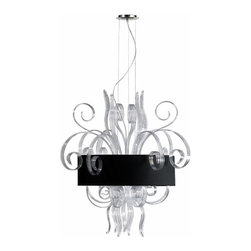Large Clear Glass Jellyfish Pendant Light Fixture w/ Black Shade - *Jellyfish Clear Large Pendant