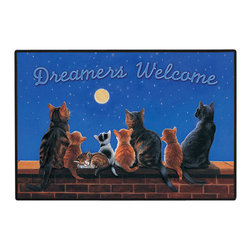 311-Dreamers Welcome - 100% Polyester face, permanently dye printed & fade resistant, nonskid rubber backing, durable polypropylene web trim on the porch or near your back entrance to the house with indoor and outdoor compatible rugs that stand up to heavy use and weather effects