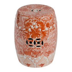 "Belle & June - Orange Ceramic Garden Stool with Dragon Motif - People will want to know more about this stunning orange garden stool when they see it. ""Where did you get?"" ""Is it hand painted?"" And from Sara, who's not known for her manners, ""How much did it cost?"" This piece is an attention getter."