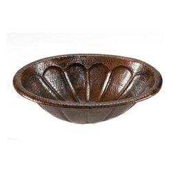 "Premier-Copper-Products - Oval 19"" Braid Self Rimming Copper Sink, Sunburst Design - LO19RSBDB Premier Copper Products Oval 19-Inch Sunburst Self Rimming Hammered Copper Sink"