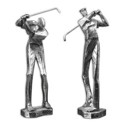 "Uttermost - Practice Shot Metallic Statues, Set of 2 - Metallic Silver With A Matte Black Glaze. Sizes: Sm-7x15x4, Lg-7x16x3.; Collection: Practice Shot; Material: Polyresin; Finish: Metallic Silver With A Matte Black Glaze.; Dimensions: 3.375""D x 6.75""W x 16""H; Uttermost's Figurines & Sculptures Combine Premium Quality Materials With Unique High-style Design.; With The Advanced Product Engineering And Packaging Reinforcement, Uttermost Maintains Some Of The Lowest Damage Rates In The Industry. Each Product Is Designed, Manufacturered And Packaged With Shipping In Mind."
