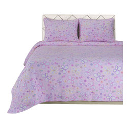 Amy Quilt Set - Twin/Twin XL - The Amy Quilt Set features a beautiful pink and purple variation with butterfly design. This set is made of 100% cotton and includes (1) Quilt: 68x86 and (1) Pillowshams: 20x26.
