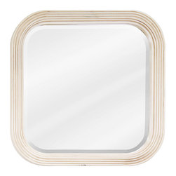 "Hardware Resources - Lyn Design MIR014 Wood Mirror - 26"" x 26"" Buttercream reed-frame mirror with beveled glass"