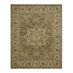 """Nourison - European India House 8'x10'6"""" Rectangle Olive Area Rug - The India House area rug Collection offers an affordable assortment of European stylings. India House features a blend of natural Olive color. Hand Knotted of 100% Wool the India House Collection is an intriguing compliment to any decor."""