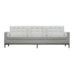 LexMod - Florence Style Sofa in White Genuine Leather - The mid-20th century was a time when hopes were at their highest. Technological developments were bustling forward, and the new world was just barely visible in the distance. But this time also presented a dilemma of sorts. The test of this forthcoming era was to be whether industry would foster comfort or stifle it.