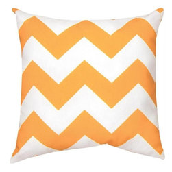 Manual - Pair of Bright Orange and White Chevron Print Indoor / Outdoor Throw Pillow - This pair of 18 inch by 18 inch woven throw pillows adds a wonderful nautical accent to your home or patio. The pillows have (No Suggestions) weatherproof exteriors, that resist both moisture and fading. The pillows feature the same bright orange and white chevron striped print on both front and back. They have 100% polyester stuffing. These pillows are crafted with pride in the Blue Ridge Mountains of North Carolina, and add a quality accent to your home.