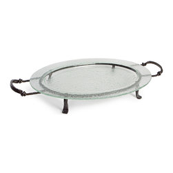 Danya B. - Large Oval Textured Glass Serving Platter and Iron Stand with Handles - Serve with elegance when you employ this oval textured glass tray on its iron stand as your platter. The dishwasher safe glass tray is easily removable for quick cleaning, and the iron stand includes useful handles, for ease of serving!