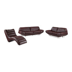 VIG Furniture - 3979 Brown Top Grain Leather 3 Piece Sofa Set - The 3979 sofa set will be a great addition to your decor and have you relaxing in modern luxury. This sofa set comes upholstered in a beautiful brown top grain leather in the front where your body touches. Skillfully chosen match material is used on the back and sides where contact is minimal. High density foam is placed within the cushions for added comfort. Each piece features a tufted design that adds to the overall look.