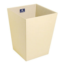 WS Bath Collections - Ecopelle Black Leather Waste Basket - Ecopelle 2603 by WS Bath Collections 9.1 x 9.1 x 11.8 Waste Basket, External Coating Synethic Leather, Linen Synthetic Cloth, Structure in MDF Fibreboard, Free Standing, Available in Creme, Black, Dark Brown, Green, Orange, and Red, Made in Italy