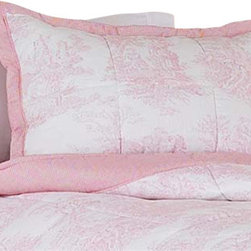 Sweet Jojo Designs - Pink Toile Pillow Sham - The Pink Toile standard pillow sham coordinates beautifully with the Sweet jojo designs, Pink Toile bedding collection. This pillow sham is a quick and easy way to complete the look and theme in your child's bedroom. Machine washable. Fits all standard size pillows.