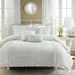 Madison Park - Madison Park Holly Cotton 6-piece Duvet Cover Set - Why not give your bedroom a fresh look with this white duvet cover set from Madison Park? Featuring numerous pintucks and pleats for added appeal,the cotton ensemble includes one duvet cover,two pillow shams,and three contrasting throw pillows.