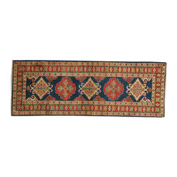 1800-Get-A-Rug - Navy Kazak Oriental Rug 100 Percent Wool Hand Knotted Runner Sh18311 - Our tribal & geometric hand knotted rug collection, consists of classic rugs woven with geometric patterns based on traditional tribal motifs. You will find Kazak rugs and flat-woven Kilims with centuries-old classic Turkish, Persian, Caucasian and Armenian patterns. The collection also includes the antique, finely-woven Serapi Heriz, the Mamluk Afghan, and the traditional village Persian rug.