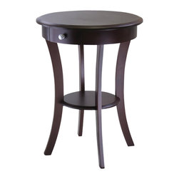 Winsome - Winsome Sasha Round Accent End Table in Cappuccino Finish - Winsome - End Tables - 40627 - Elegantly simple end table. Its curved, smooth design blends well with any style of room decor.