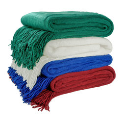 Cashmere Showroom - Cashmere Showroom Soft-As-A-Cloud Luxury Throw - Our cashmere showroom softest cloud throw is soft and fluffy and comes in beautiful bold colors such as claret,cobalt,creme and emerald. This throw features a four-inch fringe that adds flair.