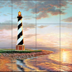 The Tile Mural Store (USA) - Tile Mural - Hateras Dawning Light  - Kitchen Backsplash Ideas - This beautiful artwork by Judy Gibson has been digitally reproduced for tiles and depicts a lighhouse scene.  Our lighthouse tile murals and nautical themed decorative tiles are perfect as part of your kitchen backsplash tile project or your tub and shower surround bathroom tile project. Lighthouse images on tiles add a unique element to your tiling project and are a great kitchen backsplash idea. Use a lighthouse scene tile mural for a wall tile project in any room in your home where you want to add interest to a plain field of wall tile.