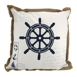 Nautical Ship`s Wheel Print Canvas Throw Pillow 16 Inch - This 16 inch nautical throw pillow adds a wonderful accent inside your home. The front of the pillow features a ship`s wheel, in navy blue, with nautical themed writing and postmarks in the background. A tan burlap edge contrasts nicely with the white pillow. It is made of 100% polyester, from the cover to the soft stuffing, and is proudly made in the USA. This pillow is perfect on chairs, couches, and beds in your home.