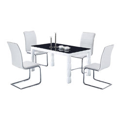 wh white lacquer vinyl dining set with black table top this dining