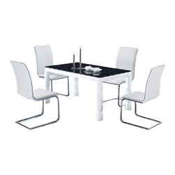 Global Furniture USA - D8055DT + D490DC-WH White Lacquer & Vinyl Dining Set With Black Table Top - This dining set offers both formal and contemporary qualities with a modern touch that works well with any decor. This set will match perfectly with most color schemes, given its black and white colors. The dining table is a rectangular shape and features a dark glass top. The chairs in this set feature simple shapes with a white leatherette material. This chair features a tufted design on the backs that adds to the contemporary look. Each chair is supported by sturdy metal legs that match the general style of the set. The dining set includes the dining table and four chairs only.