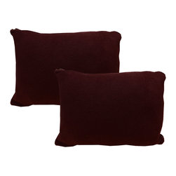 PriceUsWholesale - Burgundy Travel Pillow Cover Set Solid Color Shams - FEATURES: