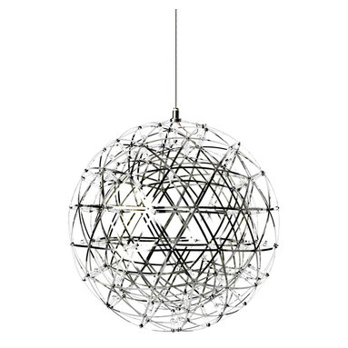 Raimond LED Suspension by Moooi - Raimond LED suspension in stainless steel has intricate spheres transporting LED terminals to create an atmospheric ambiance. Available in three sizes and in dimmable versions. Supplied with (92), (162), or (252) LED light sources. Small Raimond consumes 20 watts, medium consumes 30 watts, and large consumes 35 watts. Not dimmable. Small: 16.9 inch diameter. Medium: 24 inch diameters. Large: 35 inch diameter. General light distribution.