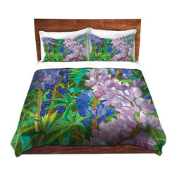 DiaNoche Designs - Duvet Cover Microfiber by Paul Cadieux - Whispering Flowers - DiaNoche Designs works with artists from around the world to bring unique, artistic products to decorate all aspects of your home.  Super lightweight and extremely soft Premium Microfiber Duvet Cover (only) in sizes Twin, Queen, King.  Shams NOT included.  This duvet is designed to wash upon arrival for maximum softness.   Each duvet starts by looming the fabric and cutting to the size ordered.  The Image is printed and your Duvet Cover is meticulously sewn together with ties in each corner and a hidden zip closure.  All in the USA!!  Poly microfiber top and underside.  Dye Sublimation printing permanently adheres the ink to the material for long life and durability.  Machine Washable cold with light detergent and dry on low.  Product may vary slightly from image.  Shams not included.