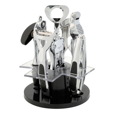 "Berghoff - Berghoff Orion Kitchen and Bar Set 6-Piece - Set includes: (6 3/4"") corkscrew, (7 1/2"") tin opener, (7 1/2"") garlic press, (6 3/4"") nutcracker, (6 3/4"") peeler and stylish stand. Utensils have a polished surface and the holder is made of synthetic fiber. Easy to clean and hygienic. Space saver and having all the utensil on the stand makes them easy to find."